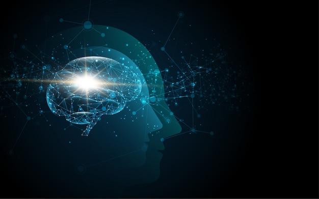Cervello dentro la testa dell'umano Vettore Premium