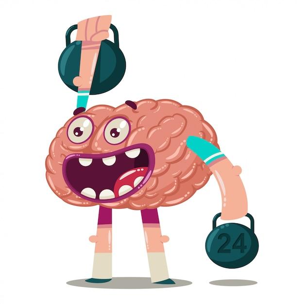Cervello simpatico cartone animato si allena con i pesi. carattere vettoriale di un organo interno isolato. personaggio di brainstorming. Vettore Premium