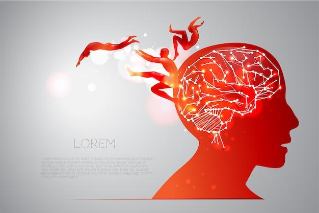 Cervello umano e sue capacità Vettore Premium