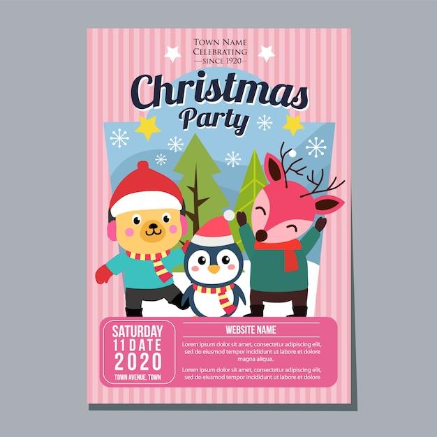 Cervi del pinguino del cane del modello del manifesto del manifesto di festa della festa di natale Vettore Premium