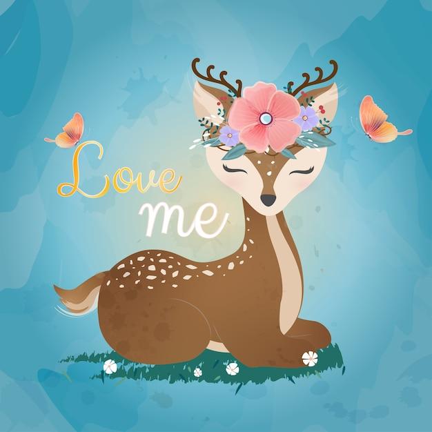 Cervo carino con corona di fiori. Vettore Premium