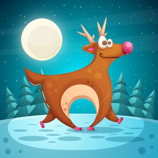 Cervo pazzo cartone animato paesaggio invernale Vettore Premium