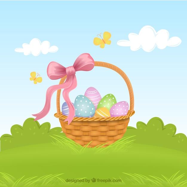Cestino con le uova di pasqua Vettore gratuito