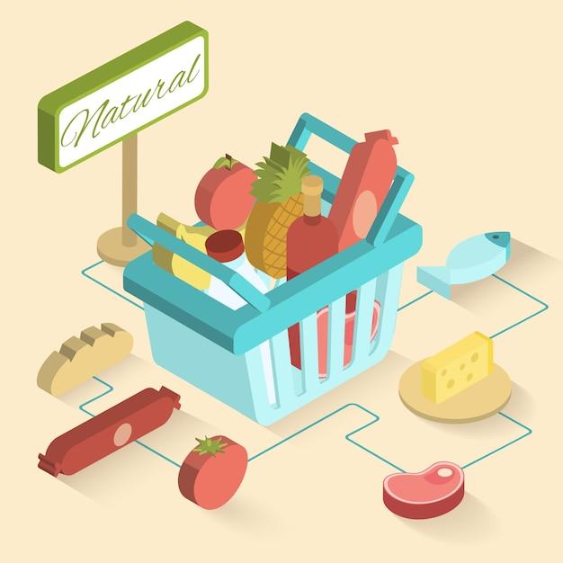 Cestino del supermercato isometrico Vettore gratuito