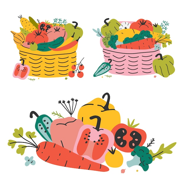 Cestino di vimini con varie verdure, raccolto autunnale. illustrazione vettoriale disegnato a mano colorato Vettore Premium