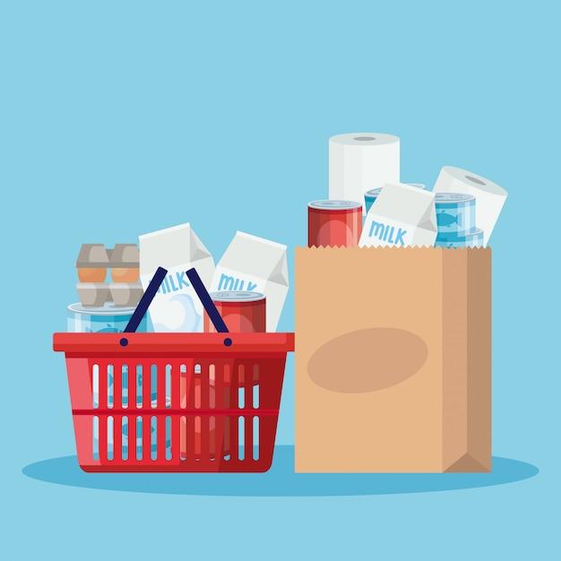 Cestino e sacchetto di carta con generi alimentari Vettore Premium