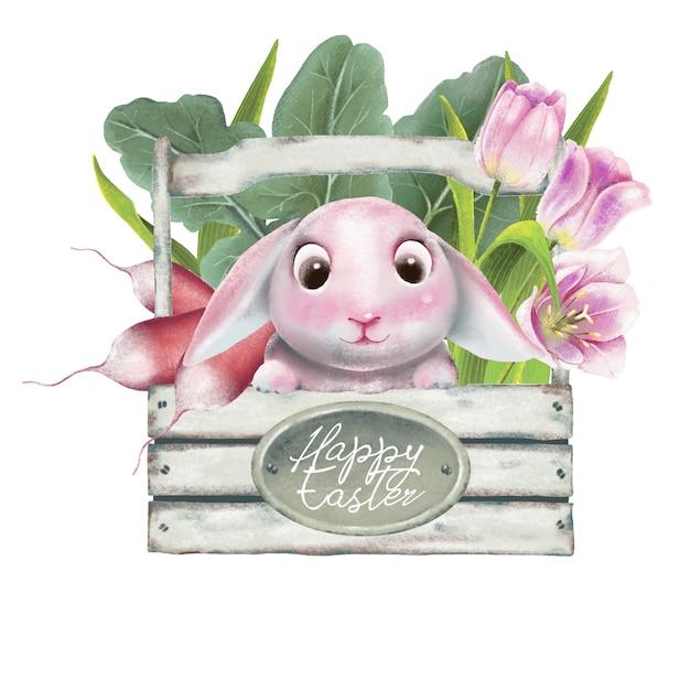Cesto di pasqua felice con fiori, verdure e fiori Vettore Premium