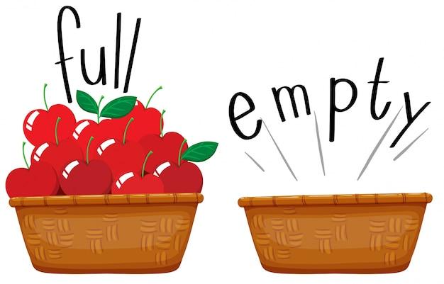 Cesto vuoto e cesto pieno di mele Vettore gratuito