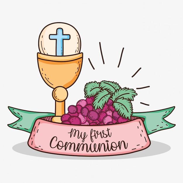 Chaliz con host e uva alla mia prima comunione Vettore Premium