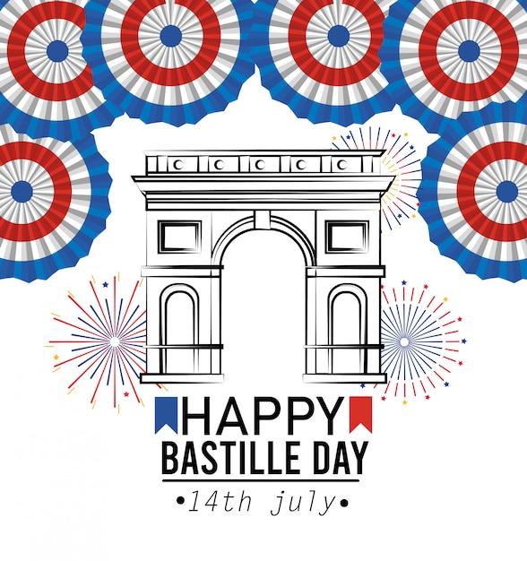 Champs elyses con decorazione della francia e fuochi d'artificio Vettore gratuito