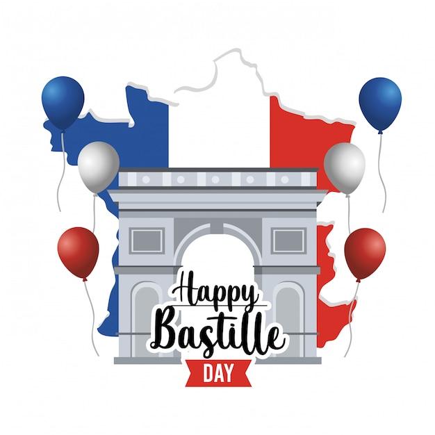 Champs elyses con palloncini e mappa della francia Vettore gratuito