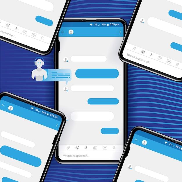 Chat bot per social networking in smartphone realistico. Vettore Premium