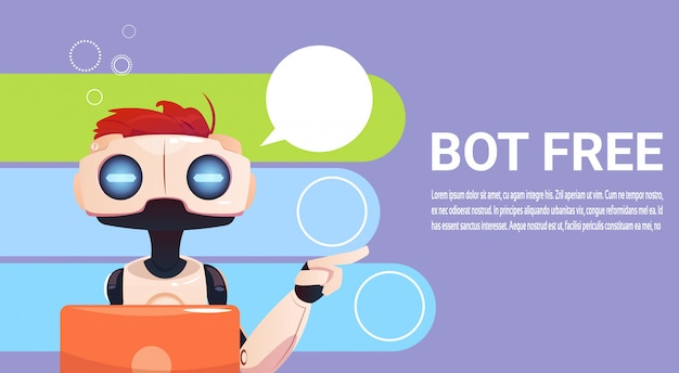 Chat bot utilizzo di computer portatile, robot assistenza virtuale di siti web o applicazioni mobili, artifici Vettore Premium