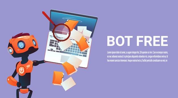 Chat gratuita bot, robot elemento di assistenza virtuale del sito web o applicazioni mobili, intell artificiale Vettore Premium