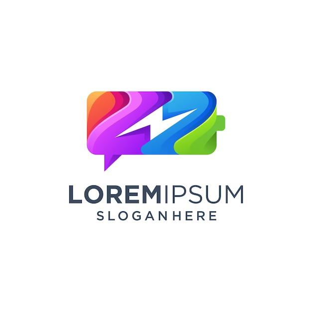 Chat logo della batteria Vettore Premium