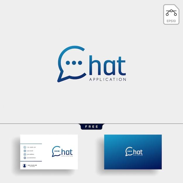 Chat, messaggio, discorso, modello di logo di conversazione con biglietto da visita Vettore Premium