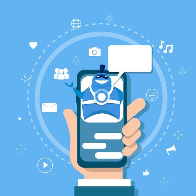 Chatbot concept support robot technology applicazione di chat digitale su smartphone Vettore Premium