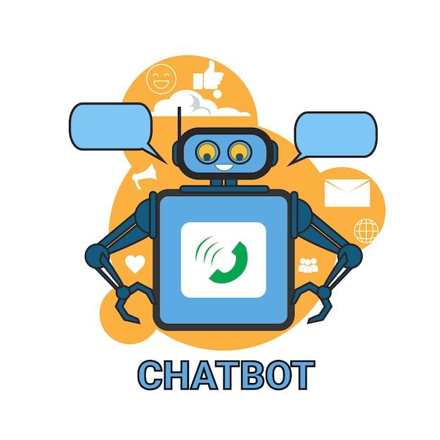 Chatbot icon concept supporto robot tecnologia applicazione chat digitale chat Vettore Premium
