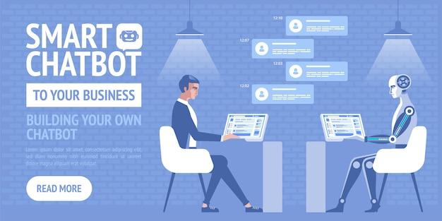 Chatbot intelligente per la tua attività, poster per attività, sito, banner Vettore Premium