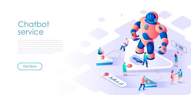 Chatbot isometrico landing page o concetto piano di intelligenza artificiale Vettore Premium