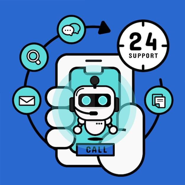 Chatbot robot su cellulare. servizio di shopping online Vettore Premium