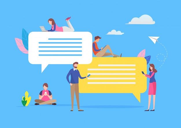 Chattare sui social media Vettore Premium
