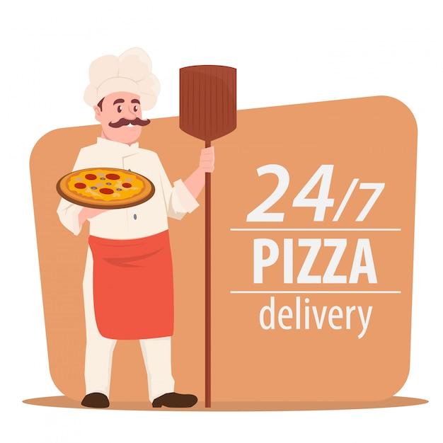 Chef cucina pizza Vettore Premium