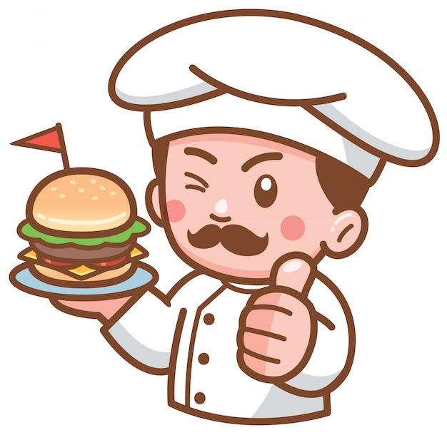 Chef di hamburger di cartone animato che presenta cibo Vettore Premium