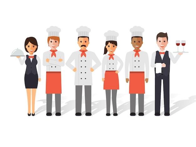 Chef e ristorante. Vettore Premium