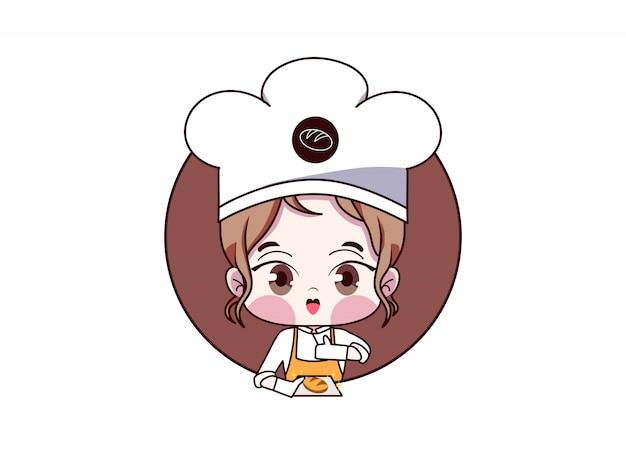 Chef femminile ragazza carina kawaii panetteria negozio logo cartoon. baker ragazza con pane Vettore Premium