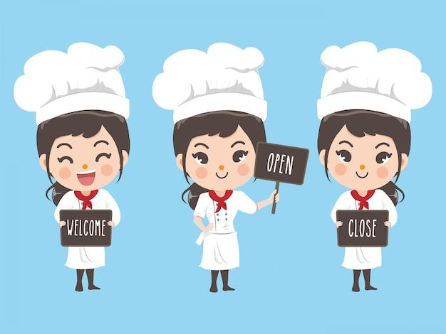 Chef femminile tiene un cartello nella parte anteriore del negozio. Vettore Premium