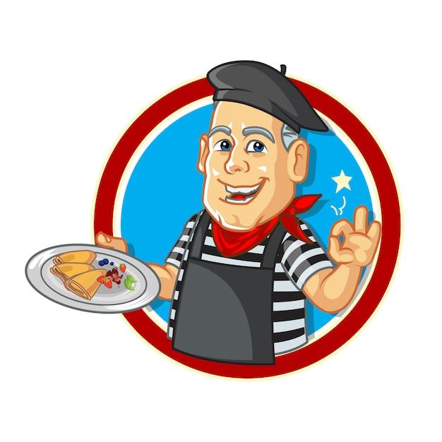 Chef francese di crêpe del fumetto Vettore Premium