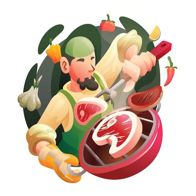 Chef musulmani professionisti che cucinano manzo Vettore Premium