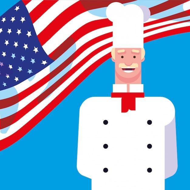 Chef professionista con bandiera usa Vettore Premium
