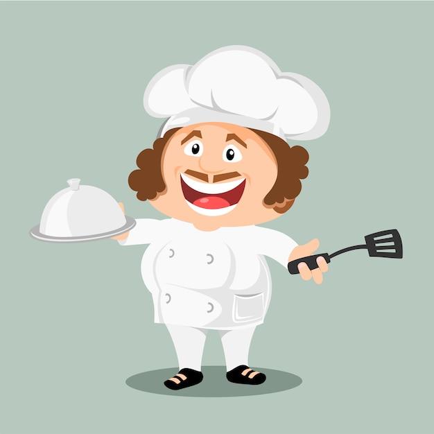 Chef pronto da cucinare. Vettore Premium