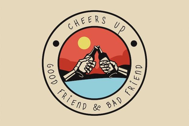 Cherrs up. distintivo del teschio Vettore Premium