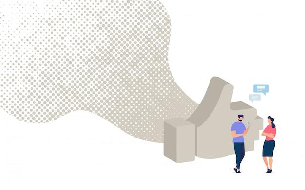 Chiacchierando con un amico nel banner del social network Vettore Premium
