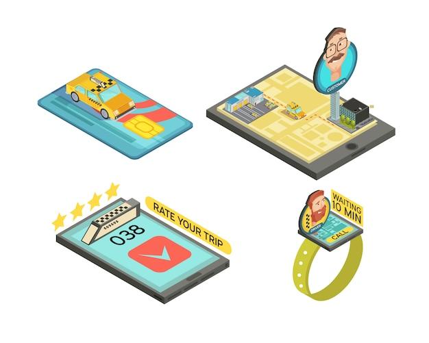 Chiami il taxi dalle composizioni isometriche degli aggeggi con l'illustrazione di vettore isolata tempo di attesa di valutazione della carta di pagamento di viaggio dell'automobile Vettore gratuito