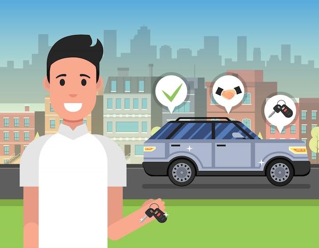 Chiave della tenuta dell'uomo dalla nuova automobile Vettore Premium