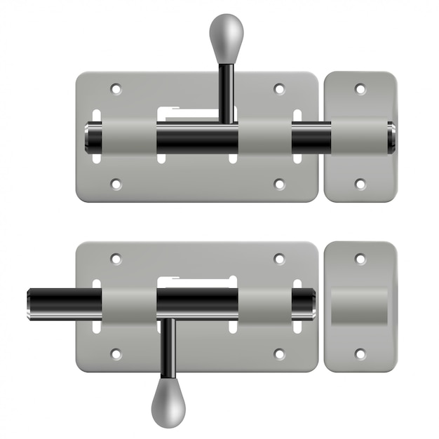 Chiavistelli metallici aperti e chiusi su bianco Vettore Premium