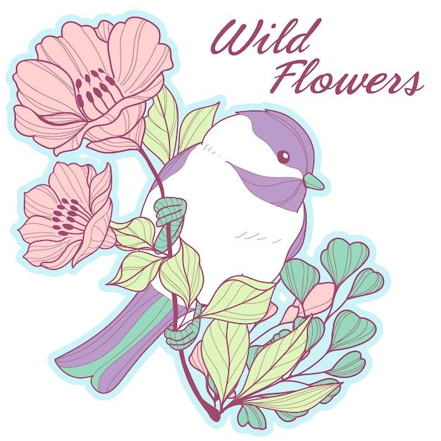 Chickadee carino su un ramo con fiori Vettore Premium
