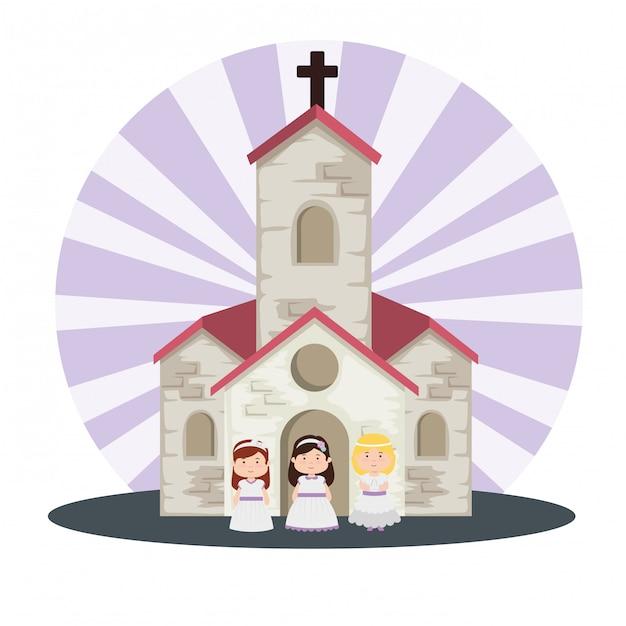 Chiesa e ragazze con abito alla prima comunione Vettore gratuito