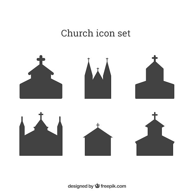 Chiesa icon set Vettore gratuito