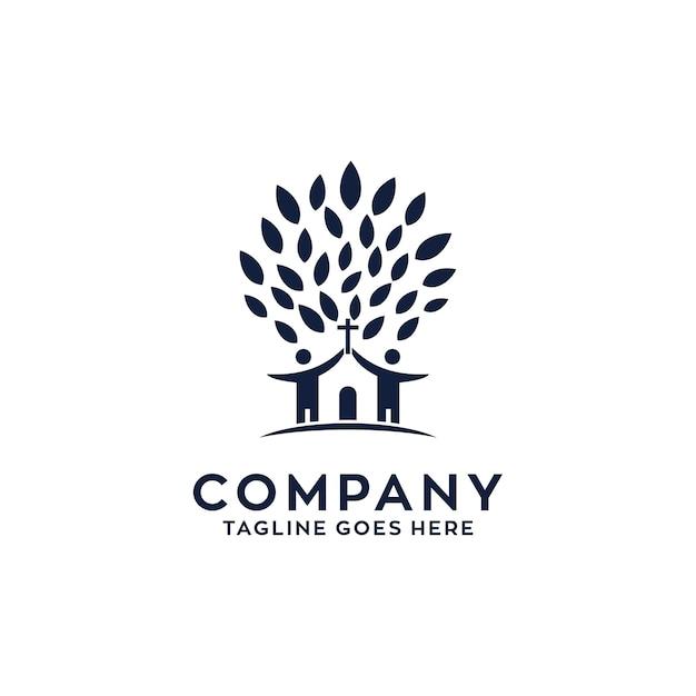 Chiesa logo design Vettore Premium