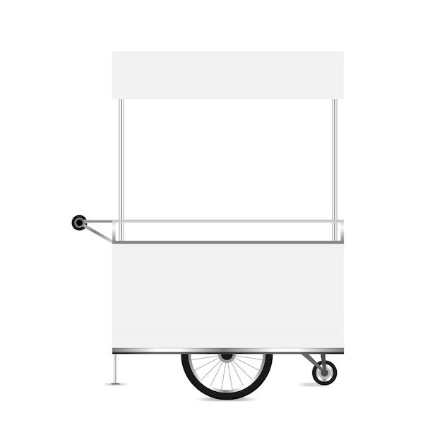 Chiosco bianco, modello vuoto di chiosco ruote carrello clip art Vettore Premium
