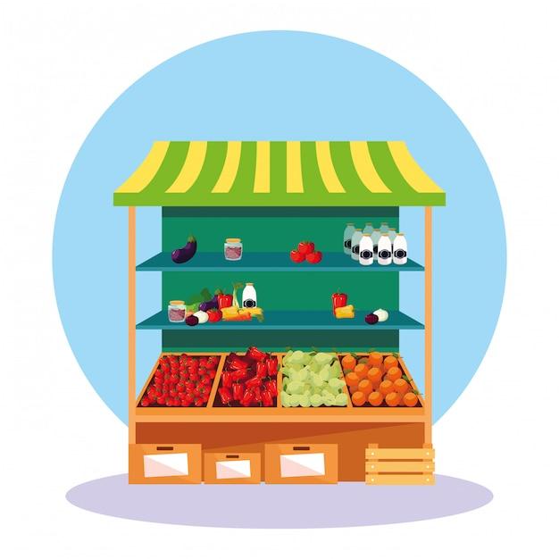 Chiosco di stallo del negozio di frutta e verdura Vettore Premium