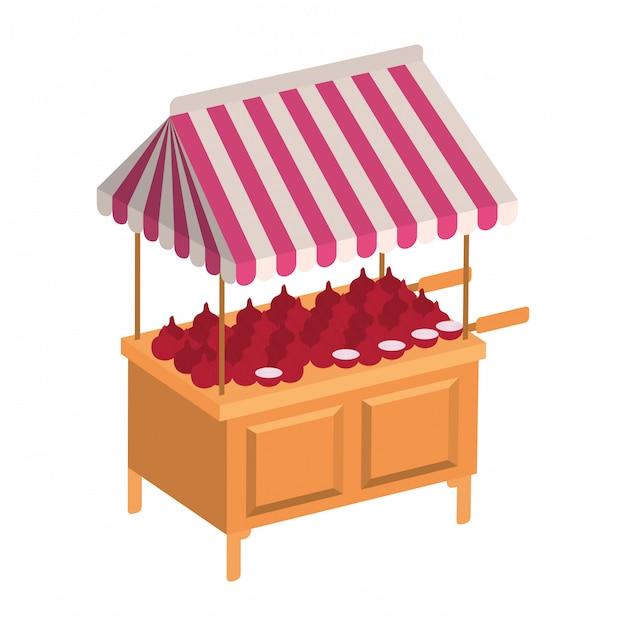 Chiosco negozio con icona isolata di verdure Vettore Premium
