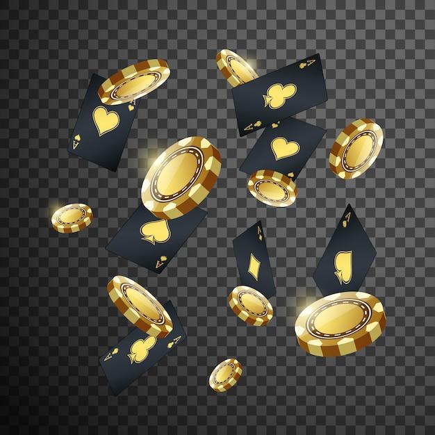 Chip del poker del casinò dell'oro e volo della carta da gioco sul nero trasparente isolato. Vettore Premium