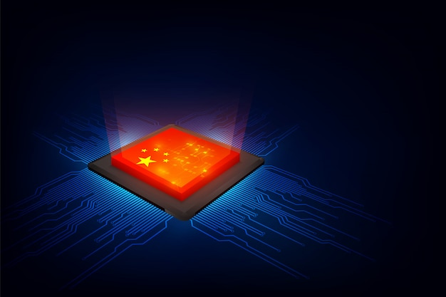 Chip di computer su sfondo digitale con bandiera della cina Vettore Premium