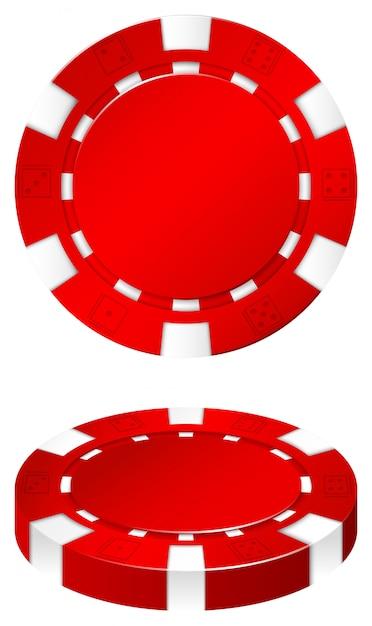Chip rosso del casinò su bianco Vettore gratuito